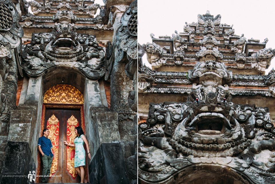 Bali pre wedding photo session in front of big balinese architecture
