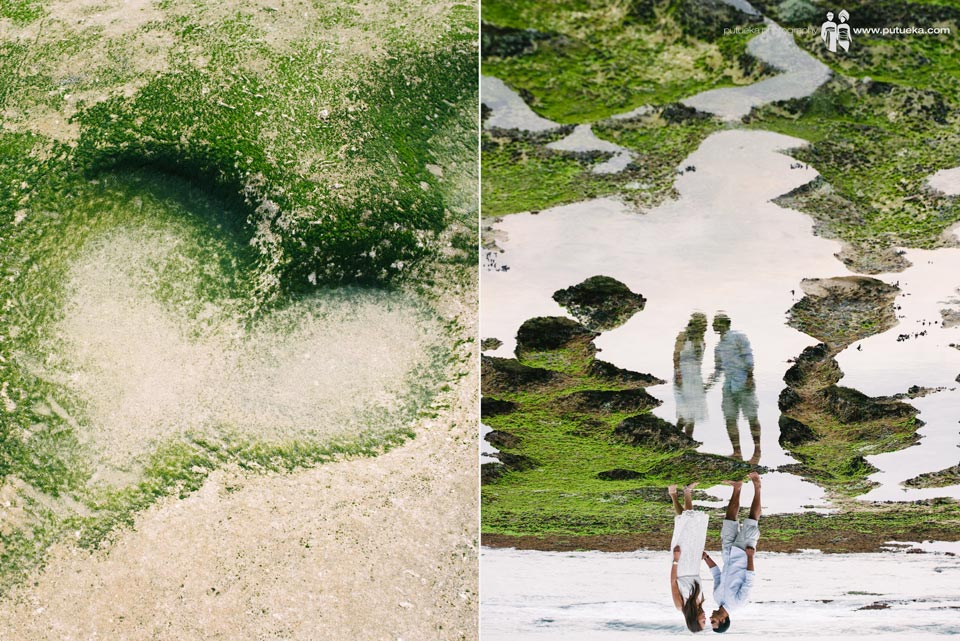 Love shape and reflection of Niel and his fiance when doing pre wedding photography in bali