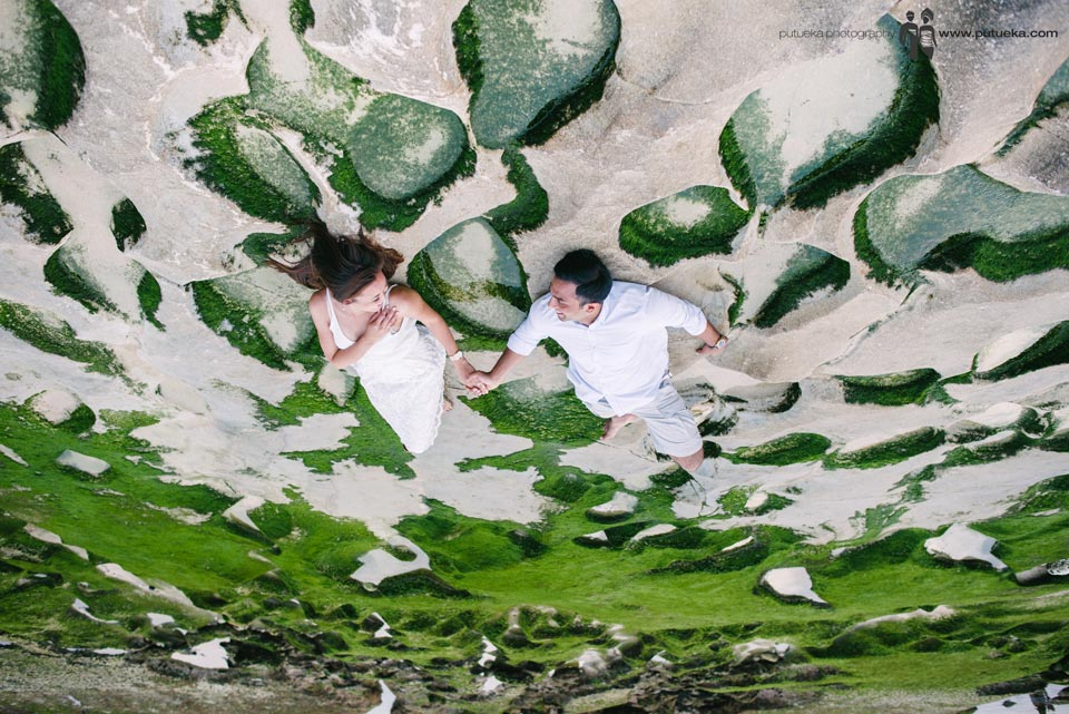 Pre wedding in Bali located on beach rock