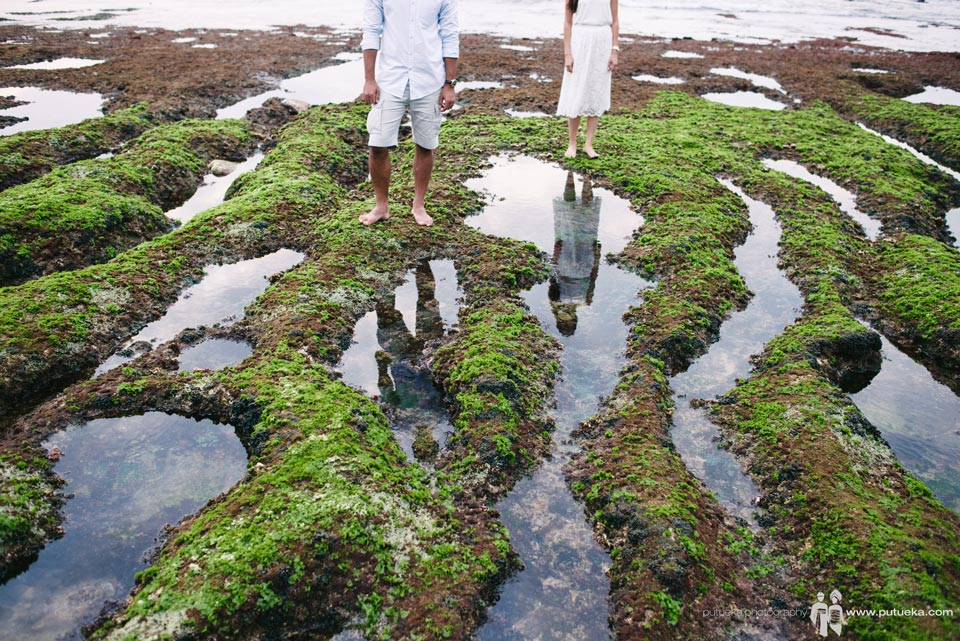 Reflection of you and me on low tide