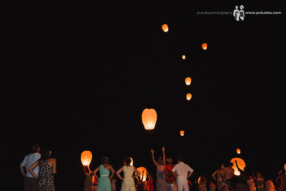 Wishing a happy marriage through flying lantern from all the guest