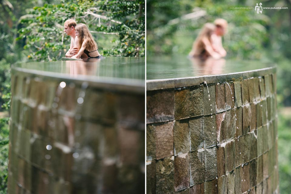 Evgeny and Julia on the edge of the infinity pool Hanging Gardens of Bali
