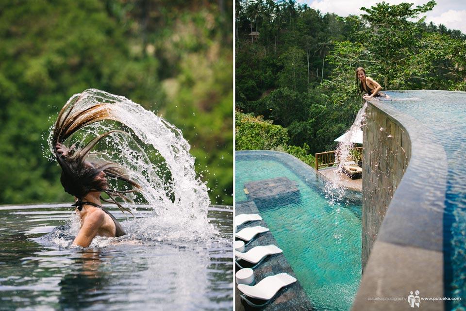 Julia makes splash at Hanging Gardens of Bali infinity pool