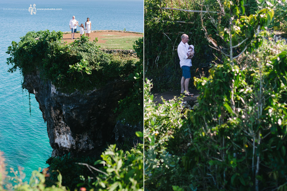 Family photography session on bali beach cliff