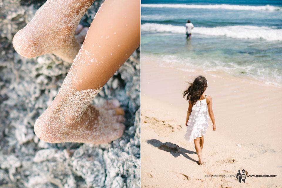 Walking down the beach barefoot
