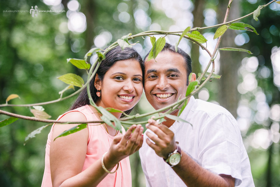 Lovely newlywed Rahul and Renjini at Bali Botanical Garden