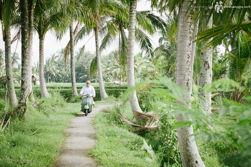 Riding green scooter alone in Ubud