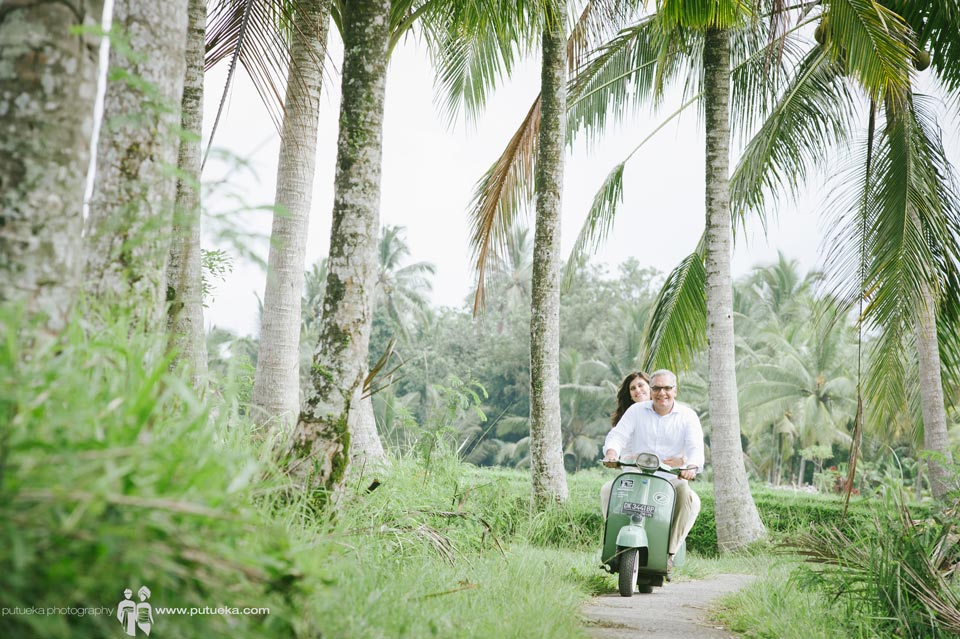 Feel the breeze of Bali under coconut trees with green scooter