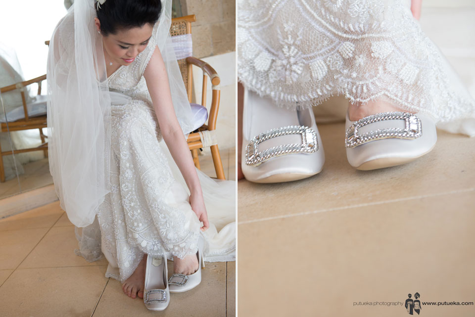 Jessie wearing her wedding shoes