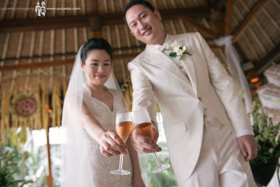 Wine toast to celebrate their weding