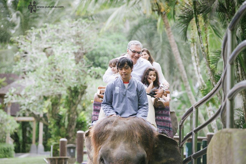 The whole family riding elephant on safari session