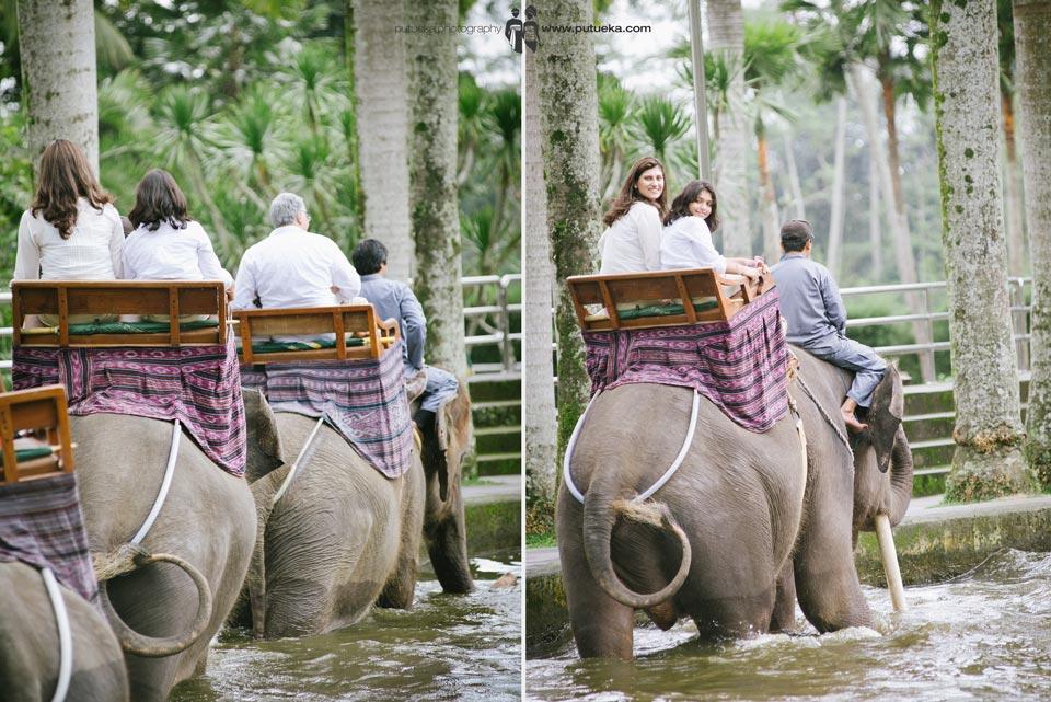 Bali family photography session when riding elephant safari at Ubud Bali
