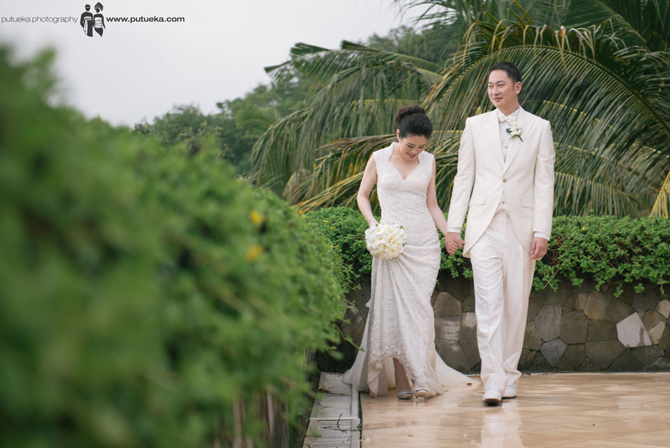 Walking as a husband and wife after their wedding ceremony