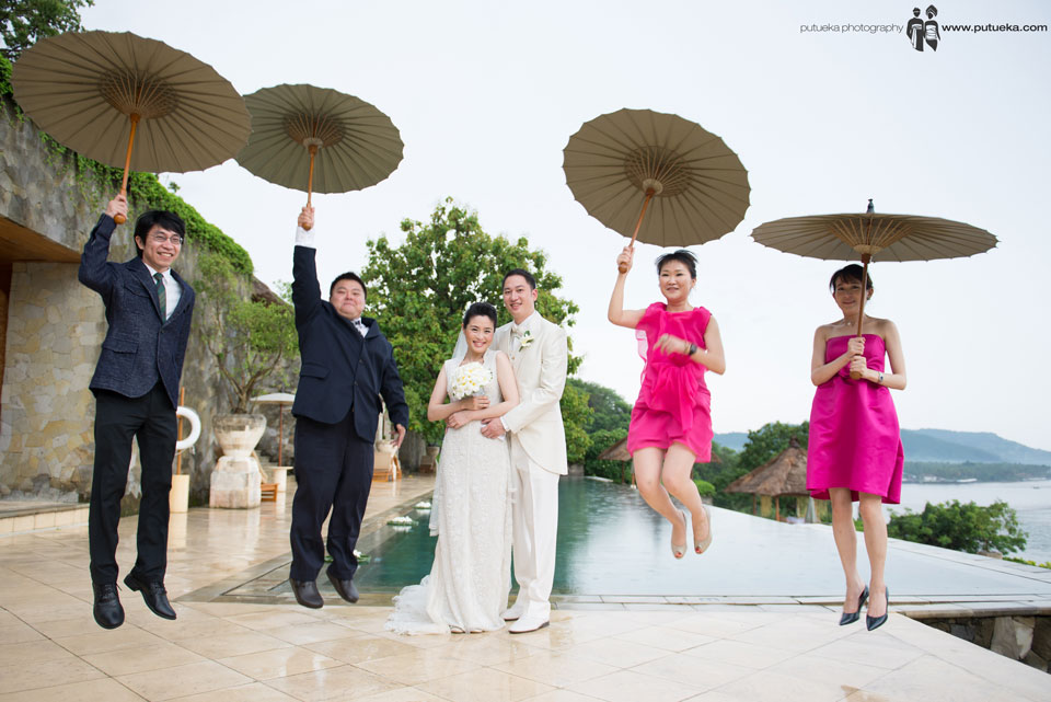 Everyone happy with the wedding and express it with jump
