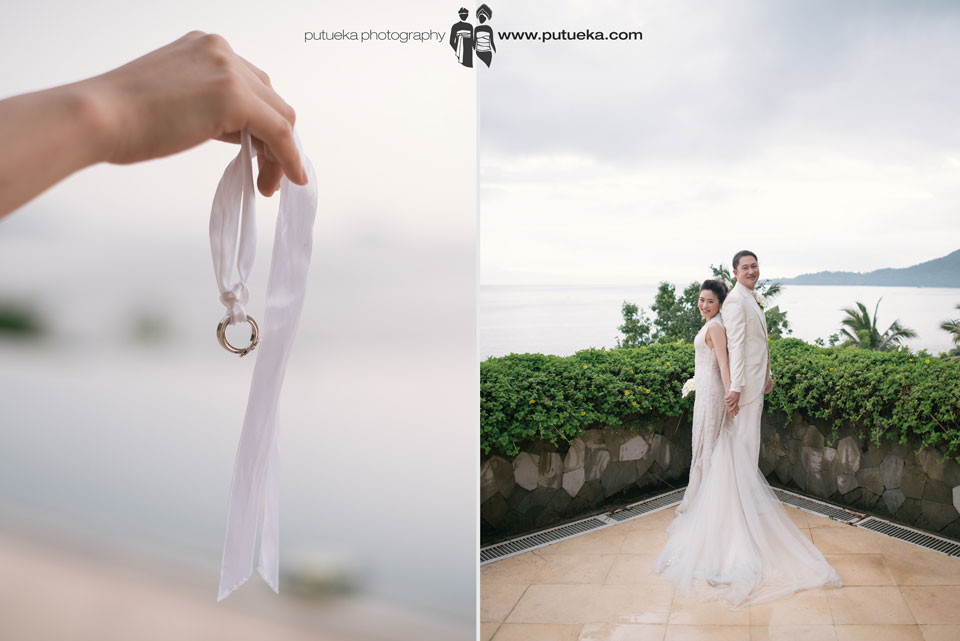 Jessie and Boris wedding ring hanging on white ribbon