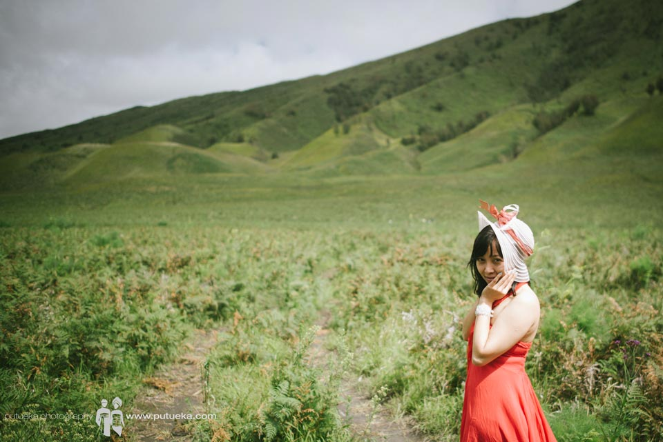 Anita on Teletubbies hill Bromo mountain