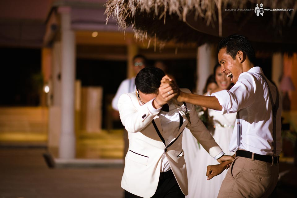 Dance of happiness with best man