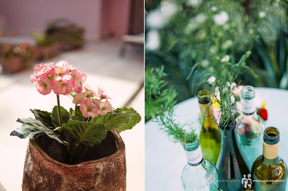 Flower vase of Ayu and Hakim wedding in bali