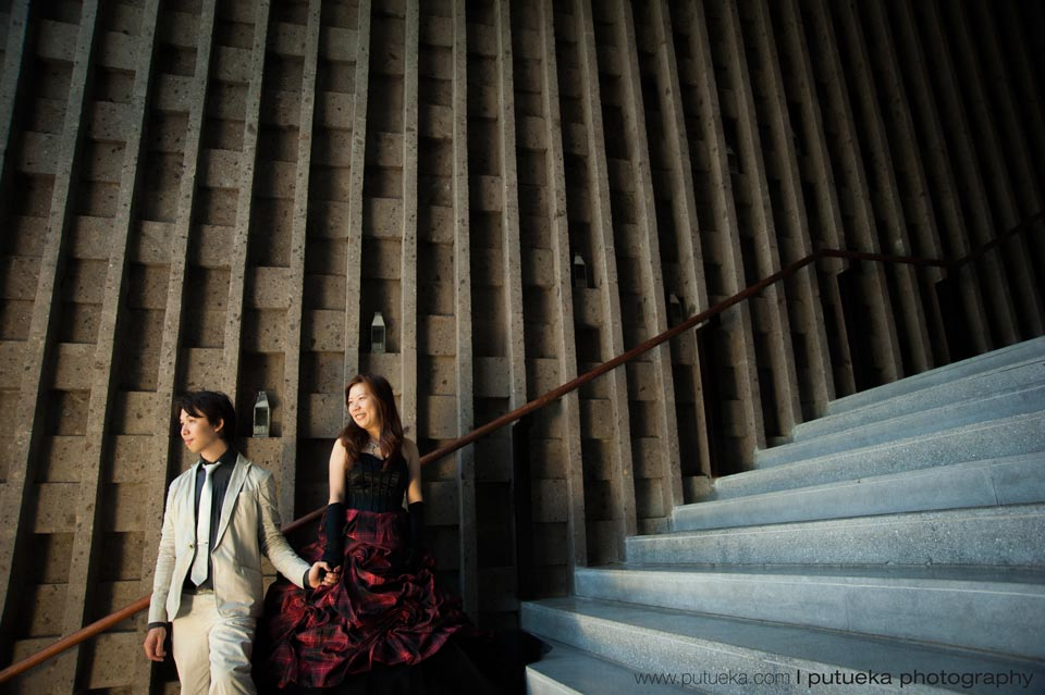 Bali prewedding photography takes place at stair of W hotel Bali