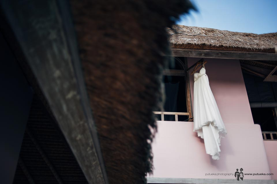 Ayu wedding dress hanging outside master bedroom Hacienda villa no 5