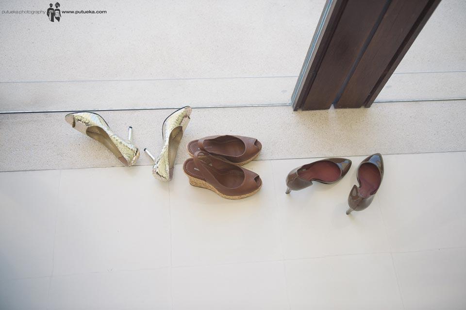 Bridesmaid shoes laying around