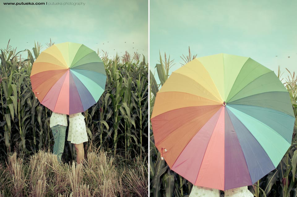 Rainbow umbrella can tell that we are super happy