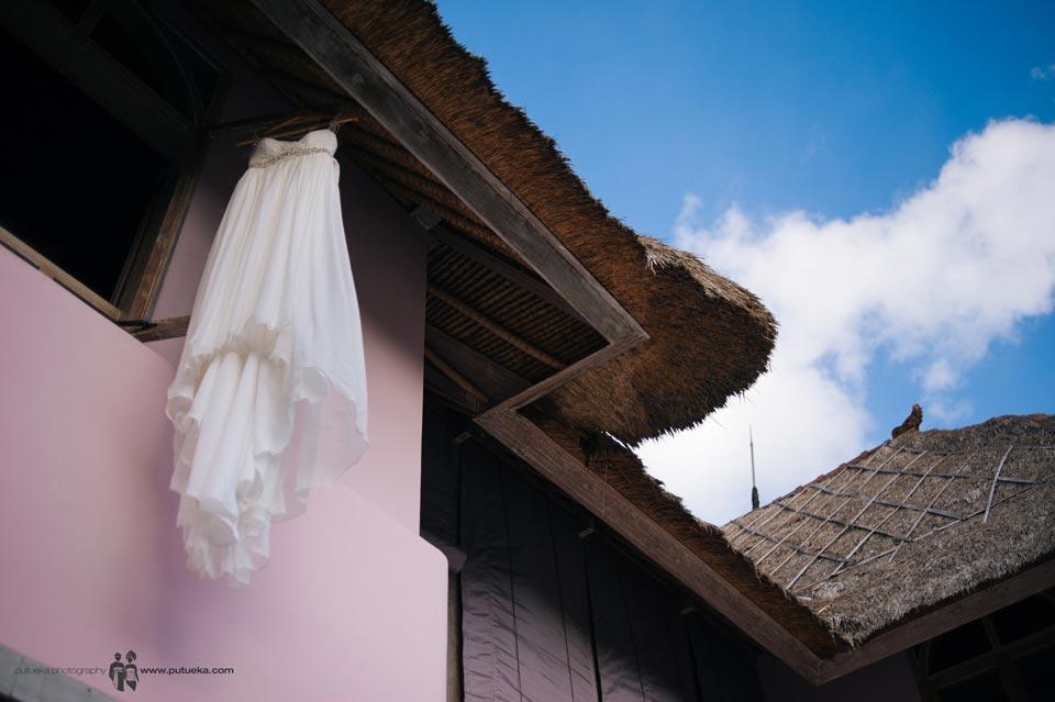 Ayu wedding dress hanging outside Hacienda villa no 5 master bedroom