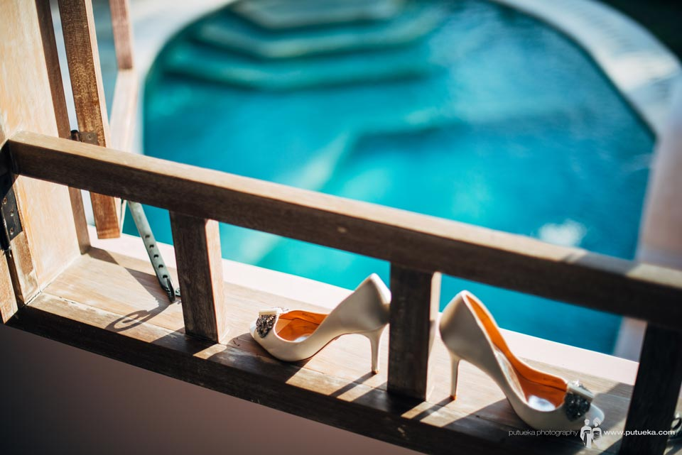 Ayu wedding shoes with pool view of Hacienda villa no 5