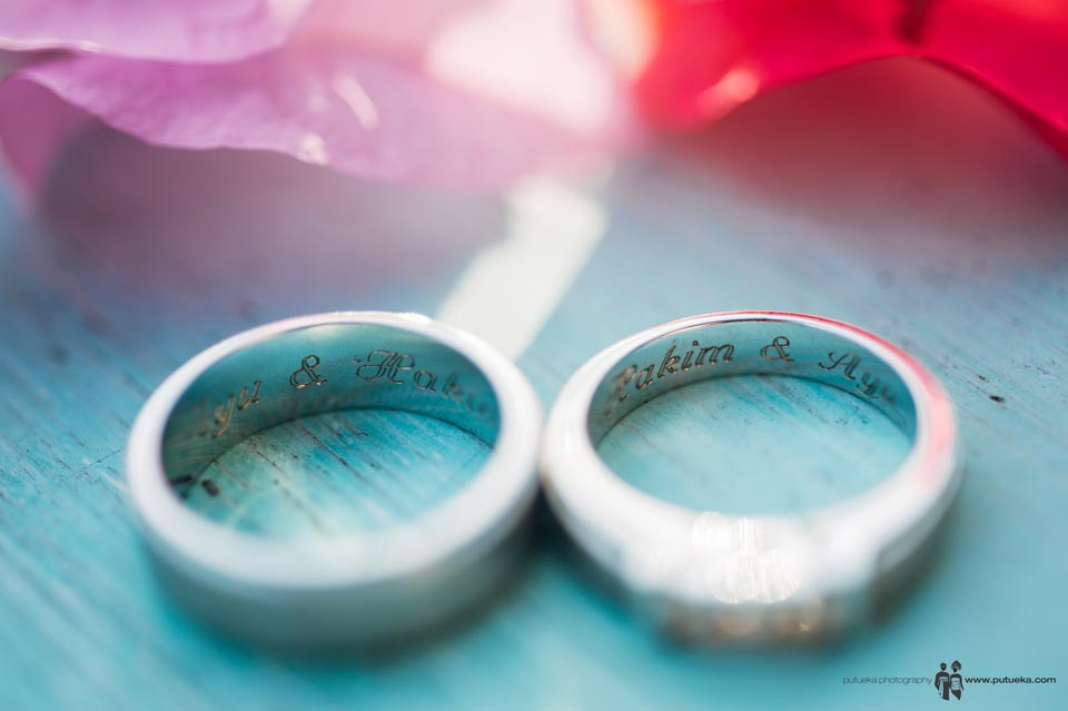 Name of Ayu and Hakim inside the wedding ring