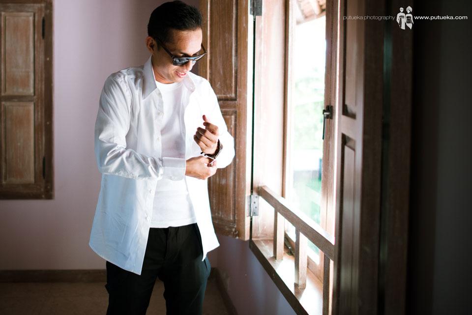 Hakim wearing the tuxedo for the wedding