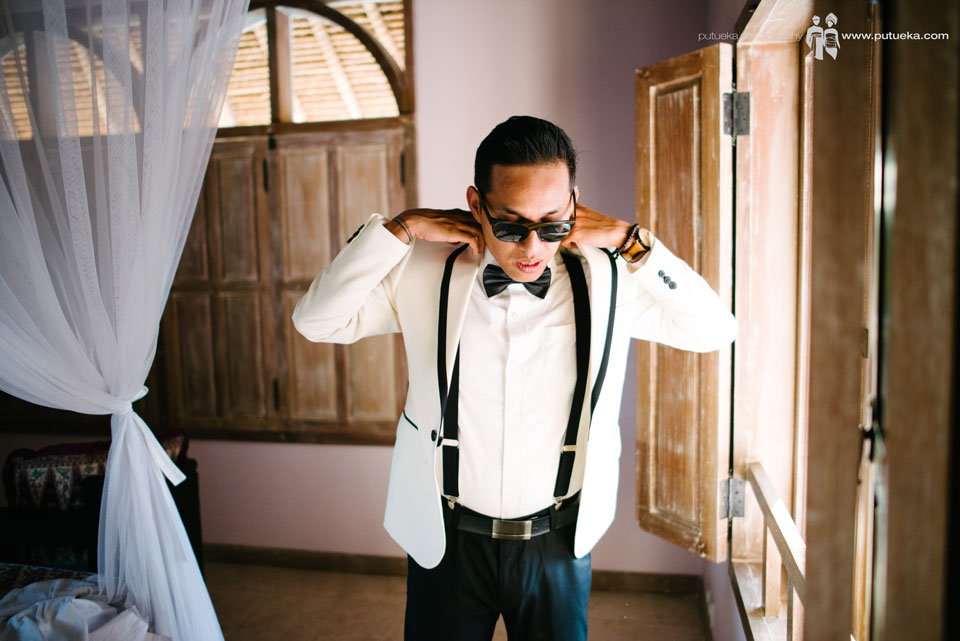 Hakim wearing wedding tuxedo