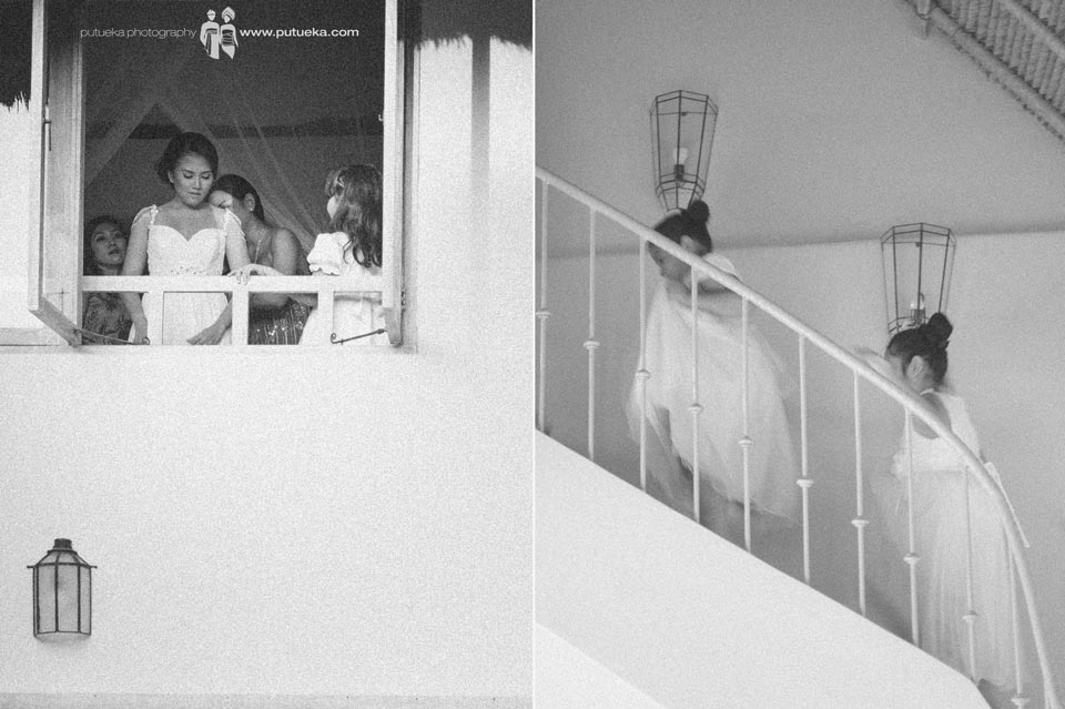The kids rush to the master bedroom to see the bride