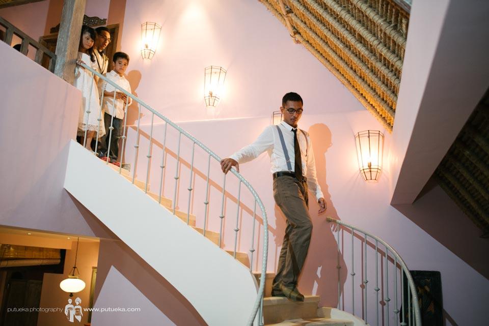 Best man walking down to wedding venue