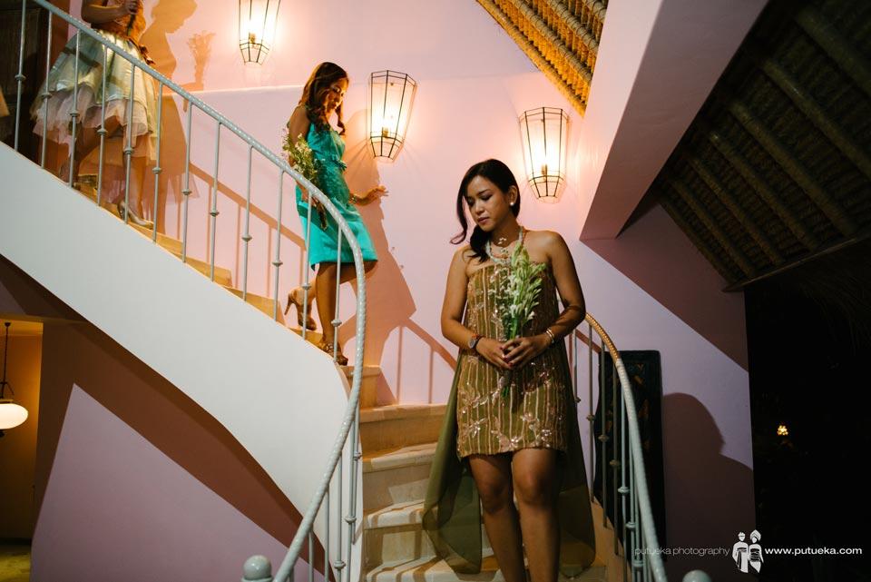 Bridesmaid walking down to wedding venue