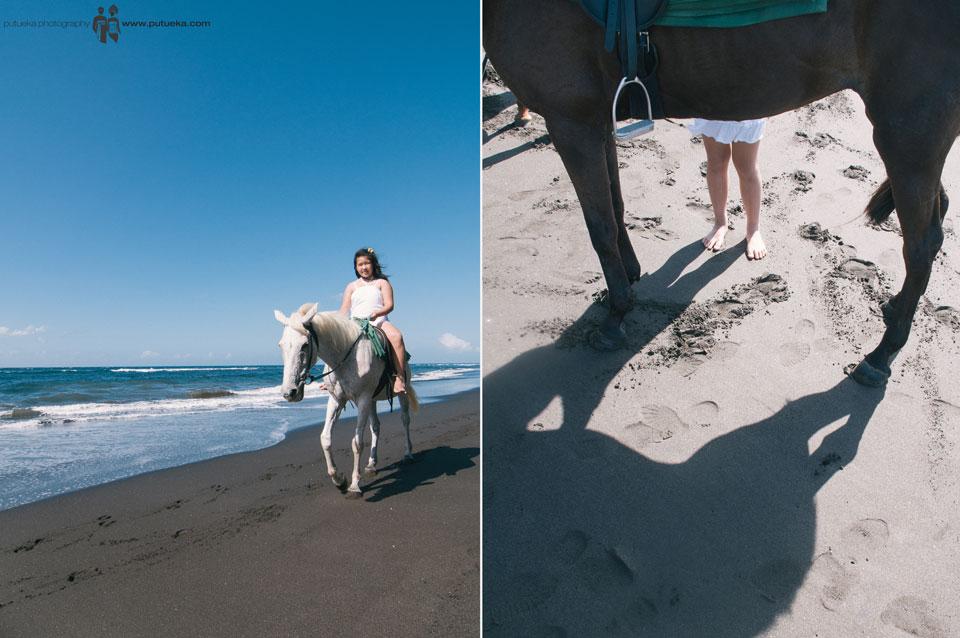 Riding horse along the shore