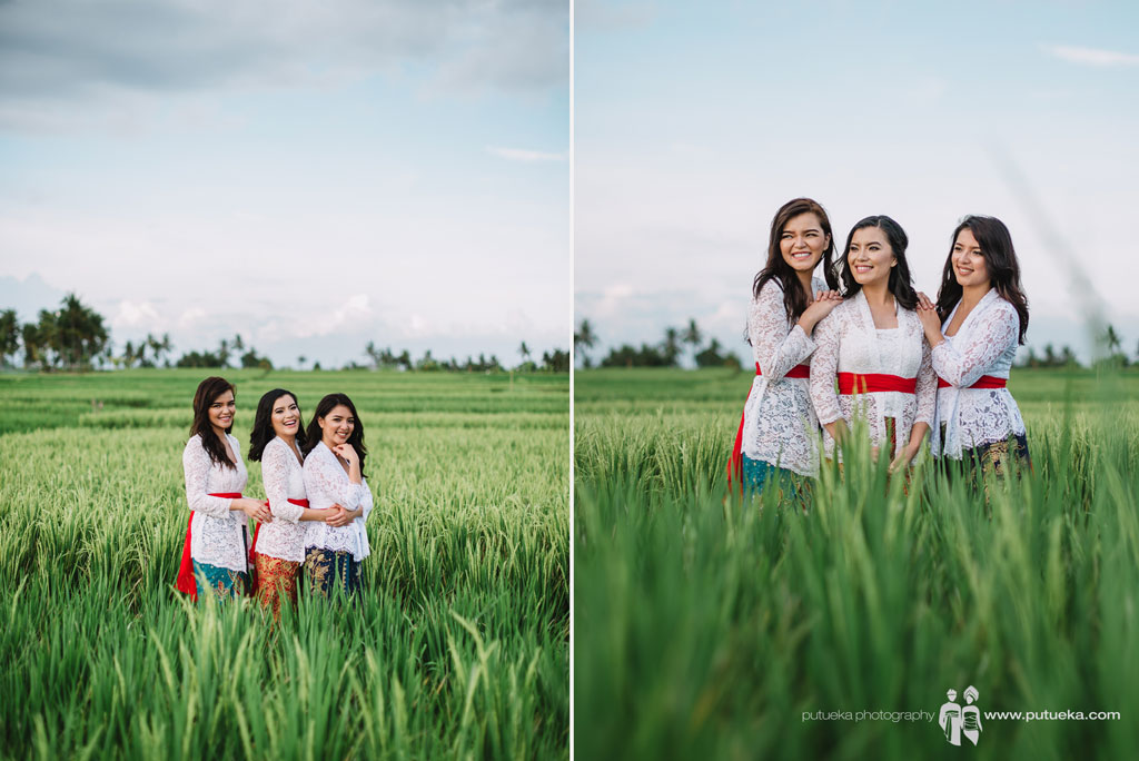 Three Lina's daughter in rice fields holiday photography session